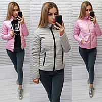 М555 Двусторонняя короткая куртка весна-осень, 2в1 серый/розовый, фото 1