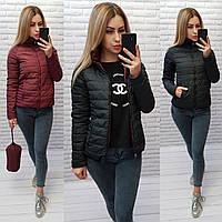 Двусторонняя короткая куртка весна-осень, 2в1 черный/марсала, арт 555