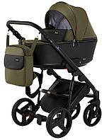 Детская коляска 2 в 1 Richmond Mirello кожа 100% (хаки - черный)