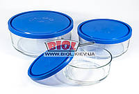 Набор судков стеклянных (0,8; 1,47; 2,5л) круглых с пластиковой крышкой Borgonovo, фото 1