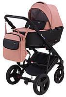Детская коляска 2 в 1 Richmond Mirello кожа 100% (розовый - черный)