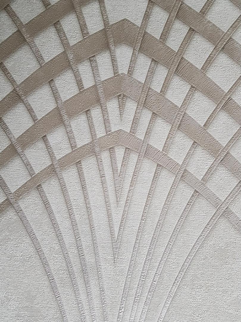 Обои виниловые на флизелине Marburg Art deco 31954 метровые полосы линии в стиле арт деко серебром на молочном