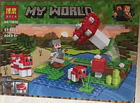 Конструктор Bela 10955 Minecraft Майнкрафт Пастбище грибной коровы на Грибном острове, 119 деталей