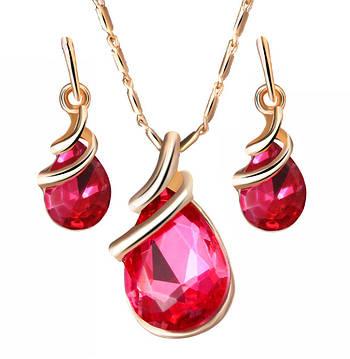 Набір сережки з підвіскою Primo Water Drop - Dark Pink