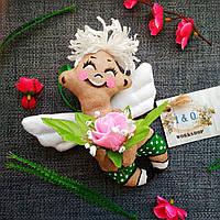 Ароматизированная мягкая игрушка Ангел с цветами. С запахом кофе, ванили и корицы .