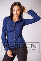 Рубашка классика приталенная синяя