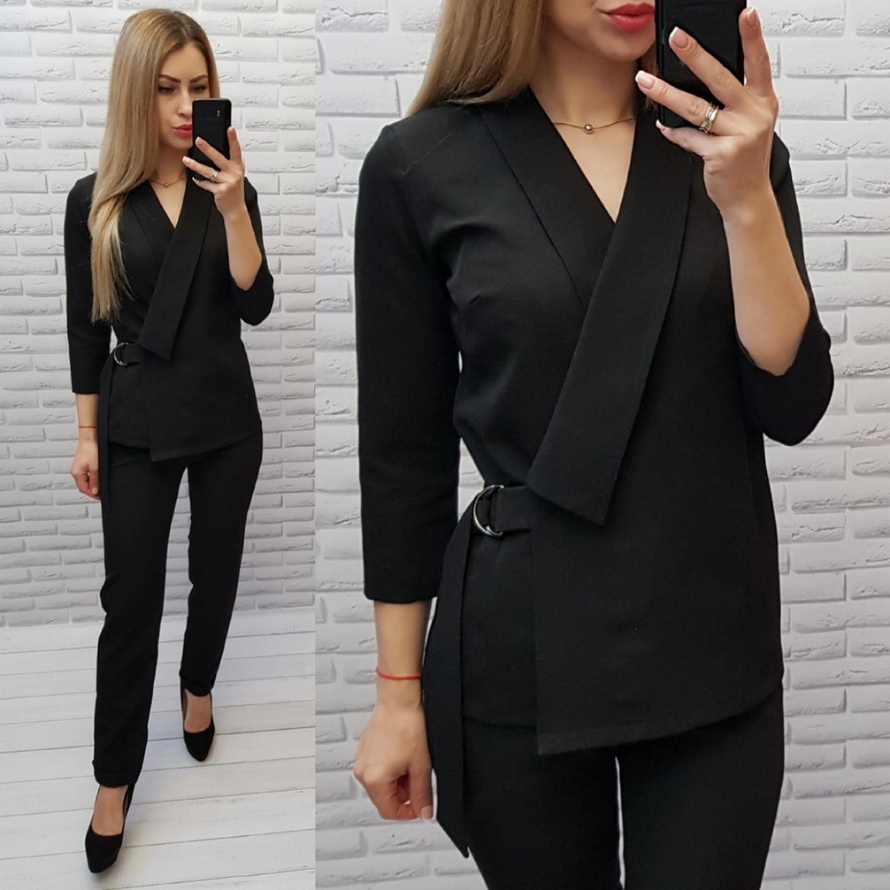 М699 Классический женский  костюм,пиджак и брюки, цвет черный, ткань тиар