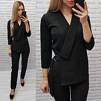 М699 Классический женский  костюм,пиджак и брюки, цвет черный, ткань тиар, фото 1