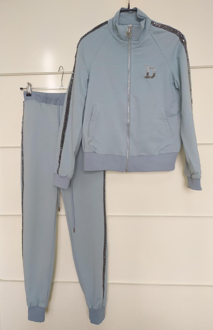 Женский спортивный костюм с бусинами , размер S, цвет нежно-голубой