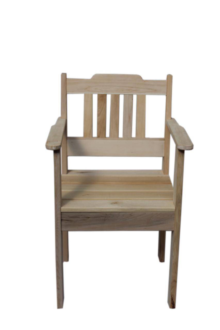 Деревянное кресло с подлокотниками из натурального дерева