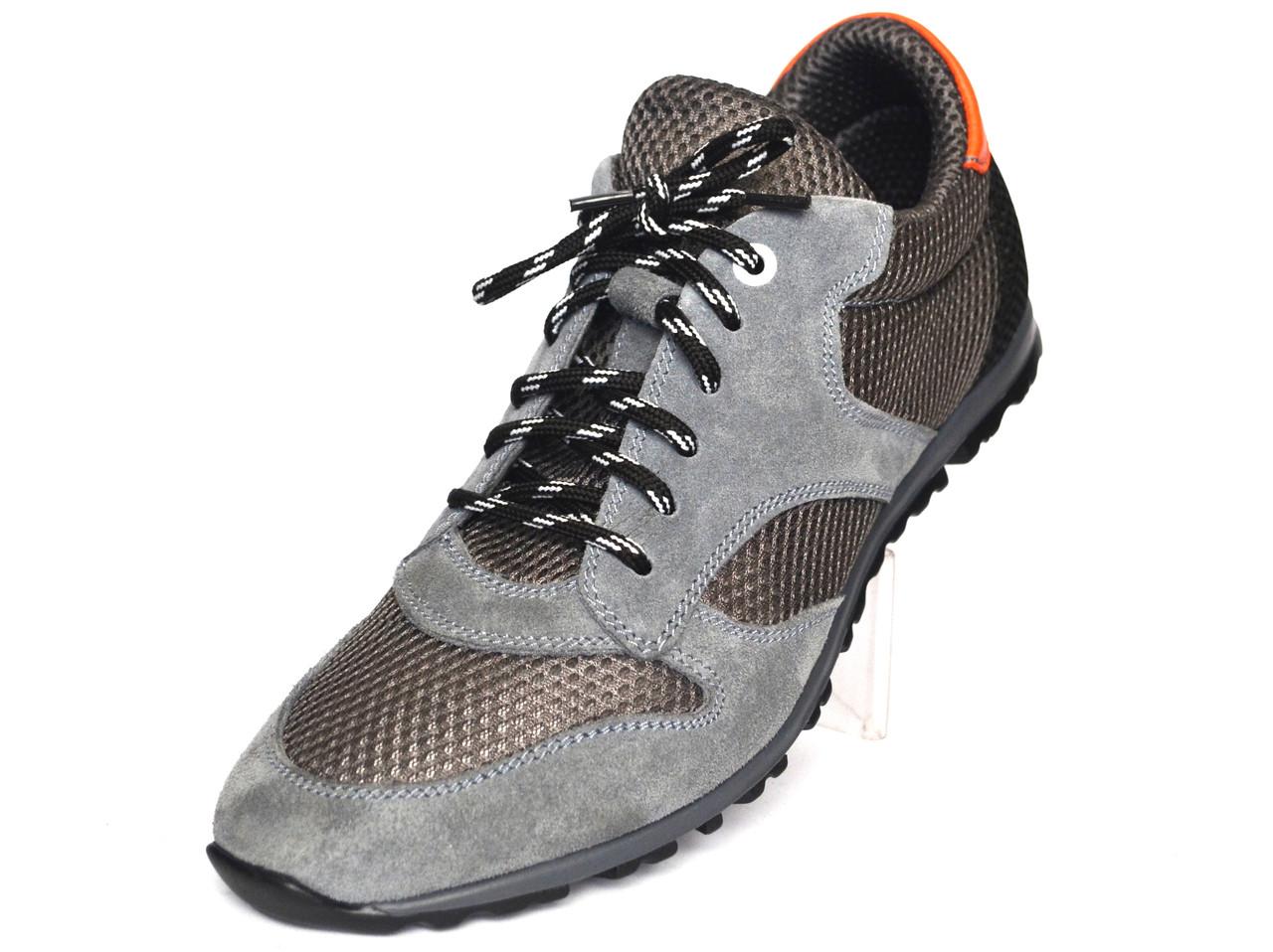 Обувь больших размеров летние мужские кроссовки сетка с замшевыми вставками Rosso Avangard BS Riddo Grey серые
