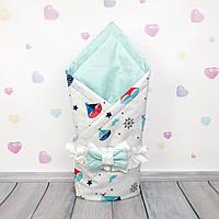 Летний конверт плед на выписку для новорожденного Oh My Kids Кораблики