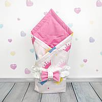 Летний конверт плед на выписку для новорожденного Oh My Kids Разноцветные Короны