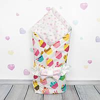 Летний конверт плед на выписку для новорожденного Oh My Kids Сладкие кексы