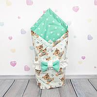 Летний конверт плед на выписку для новорожденного Oh My Kids Мишки со звёздами
