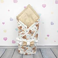 Летний конверт плед на выписку для новорожденного Oh My Kids Мишки