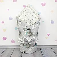 Летний конверт плед на выписку для новорожденного Oh My Kids Весёлые Мишки
