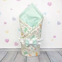 Летний конверт плед на выписку для новорожденного Oh My Kids Лесные зверюшки