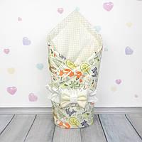 Летний конверт плед на выписку для новорожденного Oh My Kids Лесная сказка