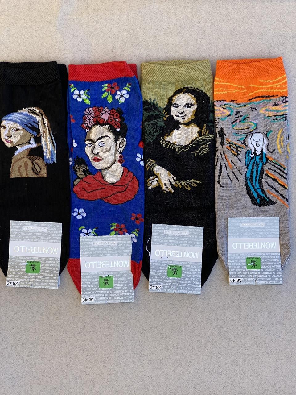Стрейчеві жіночі носки шкарпетки Montebello з картинами Леонардо Да Вінчі Мона Ліза 36-40 12 шт в уп
