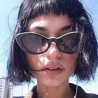 Женские солнцезащитные очки лисички   2020 черные-белые
