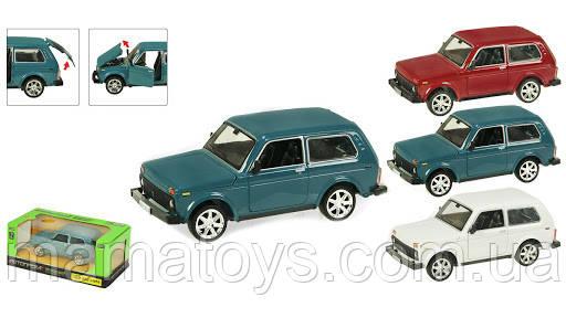 Машинка Инерционная метал 21214 Автопром 1:22 Нива 3 цвета, свет, звук, открываются двери, капот, багажник