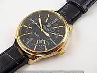 Мужские часы Rolex Cellini 4213 золотистые с черным, черный циферблат, календарь копия, фото 1