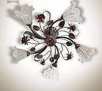 Люстра в стиле флористика 5 ламповая для зала, спальни  15655-1