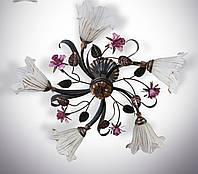 Люстра в стиле флористика 5 ламповая для зала, спальни  15655-2