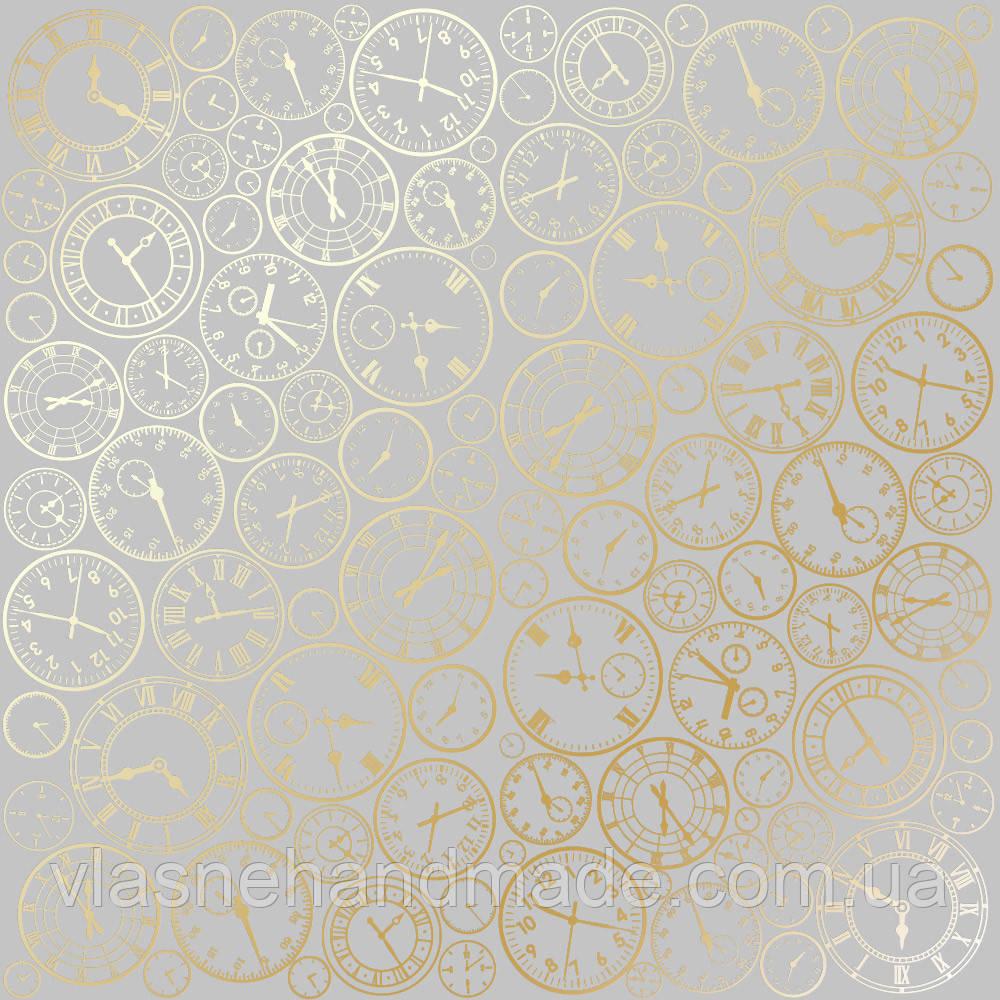 Папір з фольгуванням - Golden Clocks Gray - Fabrika Decoru - 30x30