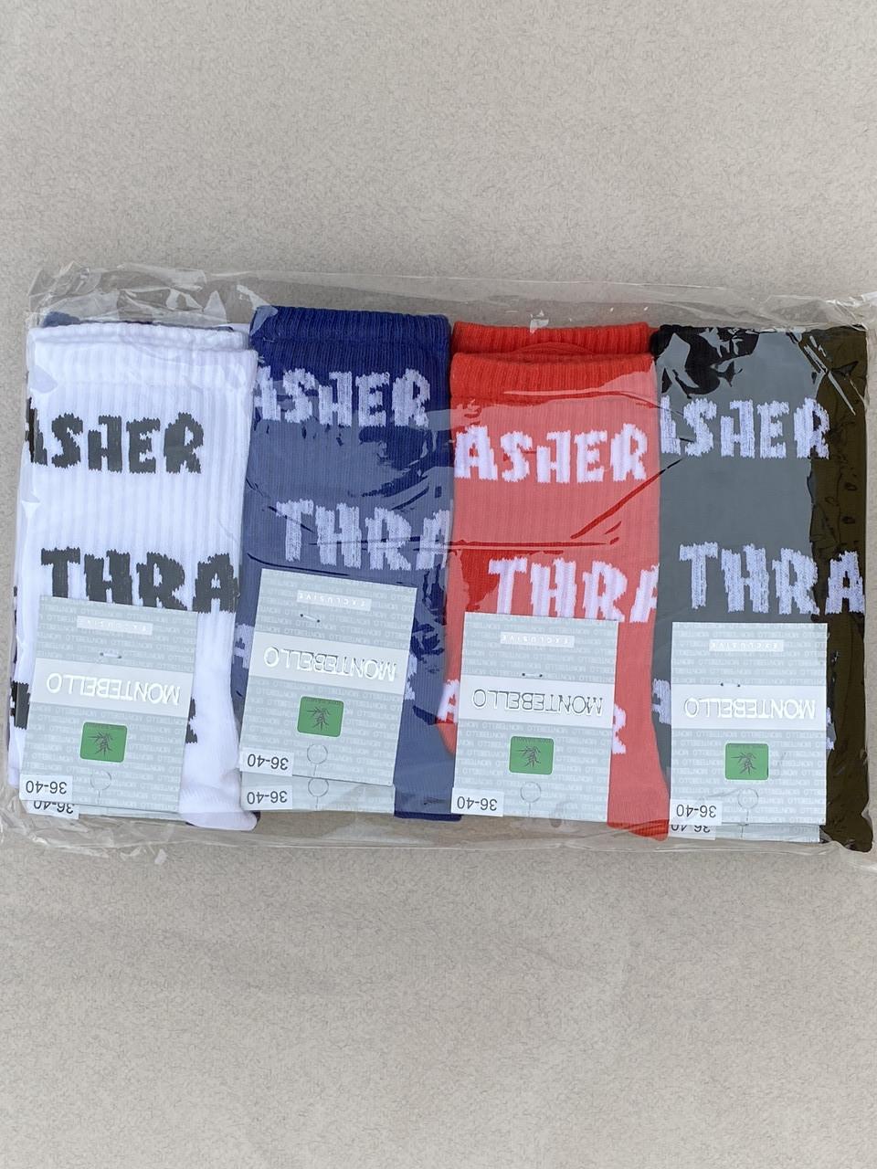 Жіночі шкарпетки Montebello носки стрейчеві з надписом Trasher 36-40  12 шт в уп сині червоні