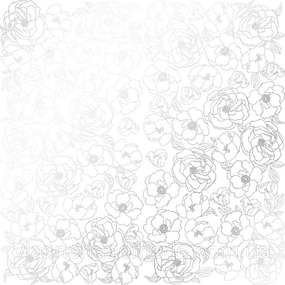 Папір з фольгуванням - Silver Pion White - Fabrika Decoru - 30x30