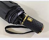 Чёрный зонт полуавтомат с двойной тканью и цветами под куполом на 9 спиц, фото 3