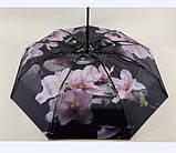 Чёрный зонт полуавтомат с двойной тканью и цветами под куполом на 9 спиц, фото 6