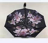 Чёрный зонт полуавтомат с двойной тканью и цветами под куполом на 9 спиц, фото 5