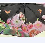 Чёрный зонт полуавтомат с двойной тканью и цветами под куполом на 9 спиц, фото 7