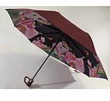 Чёрный зонт полуавтомат с двойной тканью и цветами под куполом на 9 спиц, фото 8