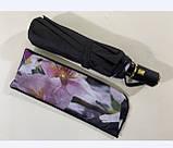 Чёрный зонт полуавтомат с двойной тканью и цветами под куполом на 9 спиц, фото 2