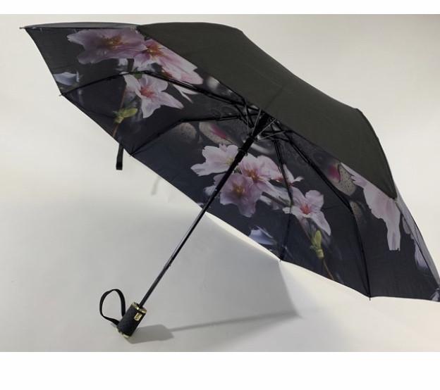 Чёрный зонт полуавтомат с двойной тканью и цветами под куполом на 9 спиц