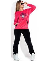 """Спортивный женский костюм черный с розовым велюровый """"лилия"""" размеры от XL"""