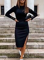 Черное женское  Платье из французского трикотажа