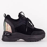 Стильные черные кроссовки F99759-A BLACK ZAMSHA весна 2020, фото 1