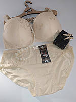 Комплект женского нижнего белья Biweier бюст анжелика и трусики-слип бежевый (D)