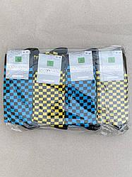 Носки Montebello жіночі стрейчеві шкарпетки з малюнком квадратик 36-40  12 шт в уп сині жовті