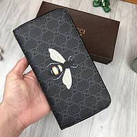 Брендовый женский кошелек на молнии Gucci серый Премиум Качество клатч Стильный Молодежный Гуччи реплика, фото 1