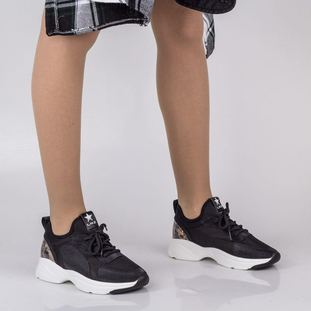 Стильные черные кроссовки Lonza FLM90025 BLACK ВЕСНА 2020