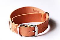 Цельный кожаный ремешок для часов Bros BRC22BR-02 22 мм (Италия) | Коричневый