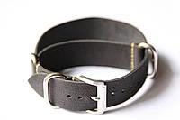 Цельный кожаный ремешок для часов Bros BRC22BL-02 22 мм (Италия) | Черный