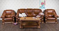 """Комплект м'яких меблів у класичному стилі """"Грізлі"""", диван і два крісла, з натурального дерева"""