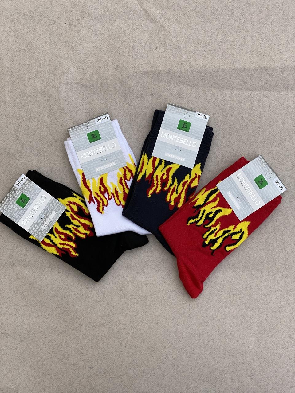 Носки жіночі шкарпетки стрейчеві Montebello з малюнком полум'я 36-40  12 шт в уп сині білі червоні чорні